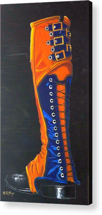 Blue Acrylic Print featuring the painting Blus And Gold Boot by Richard Le Page
