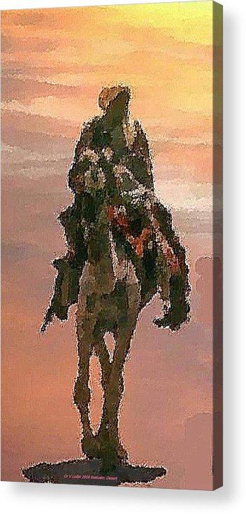 Landscape.desert.dusty Sun.camel.bedouin.sand.dusty.hot.dry.shadow. Acrylic Print featuring the digital art Desert. Bedouin. by Dr Loifer Vladimir