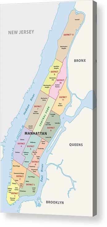 New York City, Manhattan District Map Acrylic Print Manhattan Map on jersey city map, queens map, west village map, ny map, roosevelt island map, central park map, throgs neck bridge map, madison square garden map, new york map, harlem map, nassau county map, long island map, path map, randall's island map, murray hill map, times square map, fire island map, brooklyn map, lincoln center map, north brother island map,
