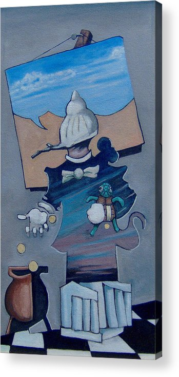 Portrait Acrylic Print featuring the painting Soapbox by Michael Irrizary-Pagan