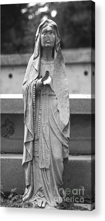 Statue Acrylic Print featuring the photograph Statue Rosery Mary - Cemetery Sentry by Wayne Nielsen