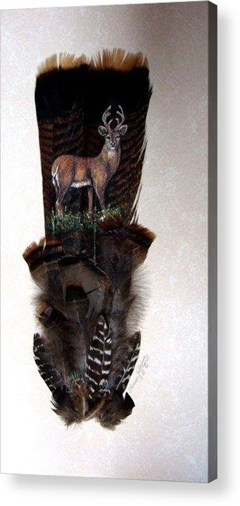 Deer Acrylic Print featuring the painting Deer Feather by Theresa Jefferson