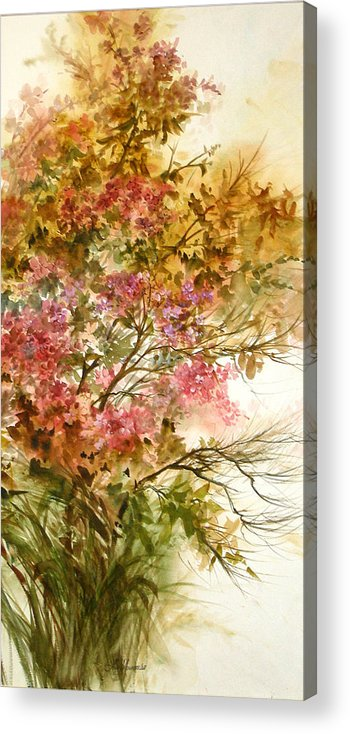 Leaves;blossoms;branches;autumn;pinks;floral; Acrylic Print featuring the painting Autumn Colors And Twigs by Lois Mountz