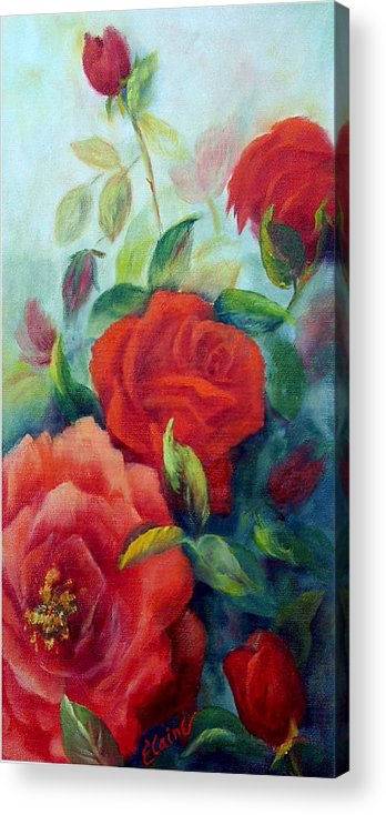 Roses Acrylic Print featuring the painting Beauty In Coral by Elaine Bailey