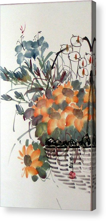 Chinese Painting Acrylic Print featuring the painting Blossoming by Ming Yeung
