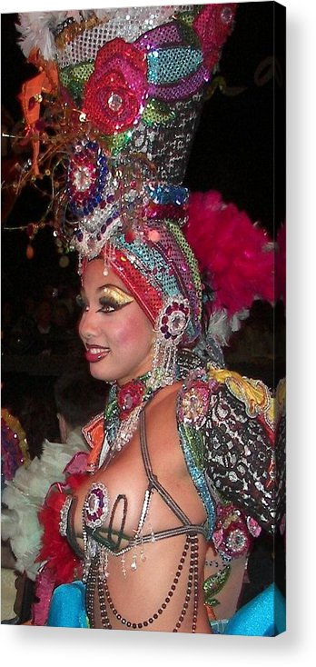 Cuba Acrylic Print featuring the photograph Cuban Tropicana Dancer by Karen Wiles