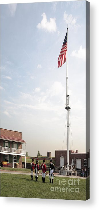 Baltimore Acrylic Print featuring the photograph Formation Under The Flag At Fort Mchenry In Baltimore Maryland by William Kuta