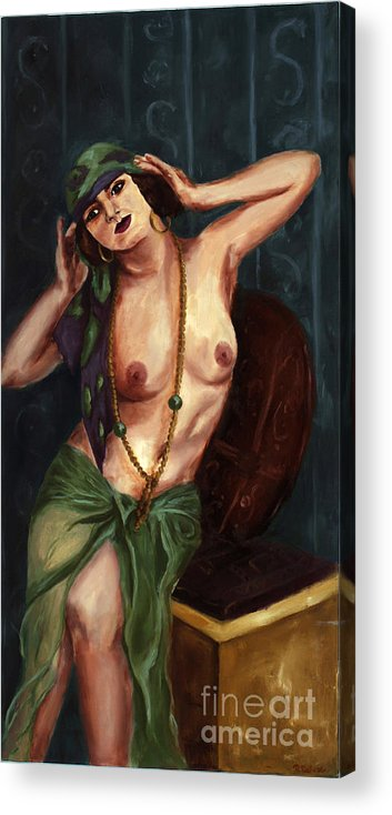 Nude Acrylic Print featuring the painting Gypsy by Robin DeLisle