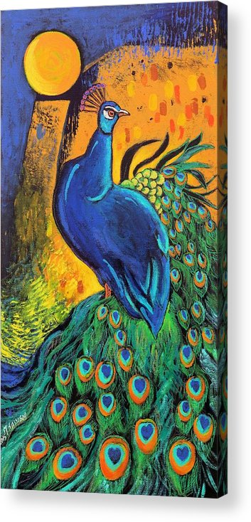 Peacock Acrylic Print featuring the painting Royal Peacock by Martha Nesibu