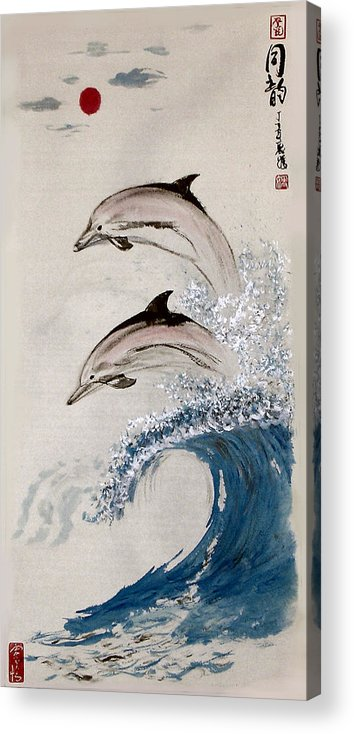 Dolphon Acrylic Print featuring the painting Same Rhythm by Lilian Storino
