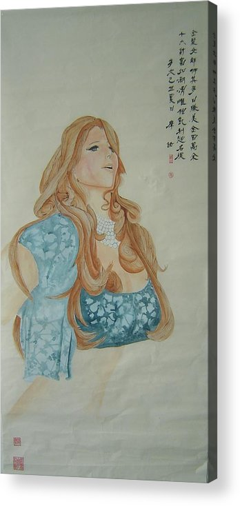 Kaili Acrylic Print featuring the painting Tr026 Kai Li by Mojie Wang