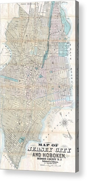 Jersey City Acrylic Print featuring the drawing Vintage Map Of Jersey City And Hoboken by CartographyAssociates