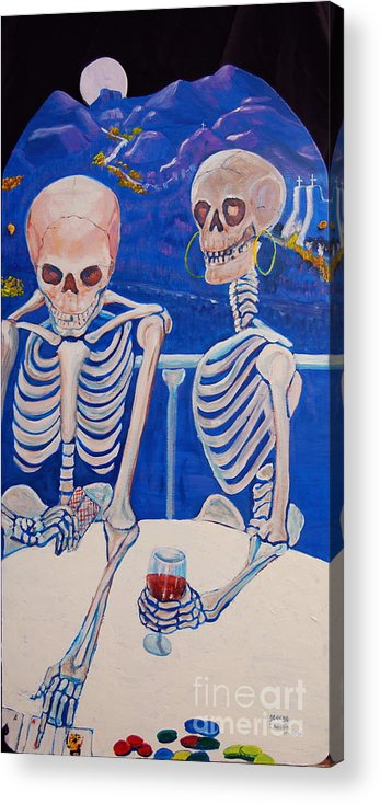Day Of The Dead Painting Acrylic Print featuring the painting Your Call by George Chacon