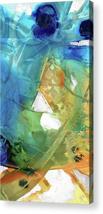 Blue Acrylic Print featuring the painting Blue And Orange Abstract Art - Good Vibrations - Sharon Cummings by Sharon Cummings