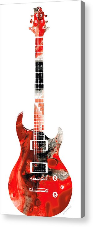 Guitar Acrylic Print featuring the painting Electric Guitar - Buy Colorful Abstract Musical Instrument by Sharon Cummings