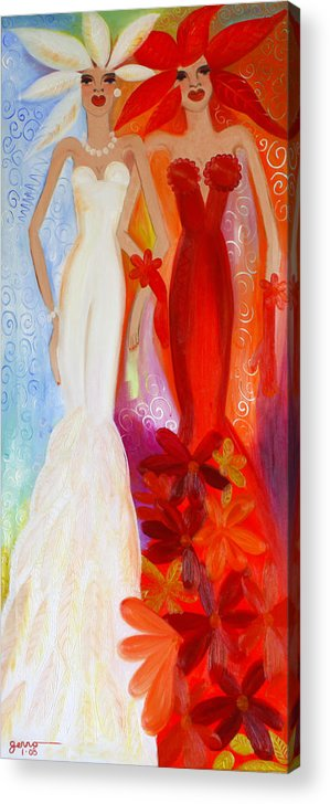 Haute Couture Artwork Acrylic Print featuring the painting Pearl And June by Helen Gerro