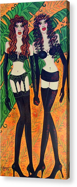 Lingerie Artwork Acrylic Print featuring the painting Models In Black Lingerie by Helen Gerro