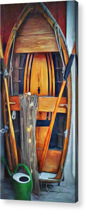Sandhamn Acrylic Print featuring the mixed media Rowboat Standing Time by Jeffrey Canha