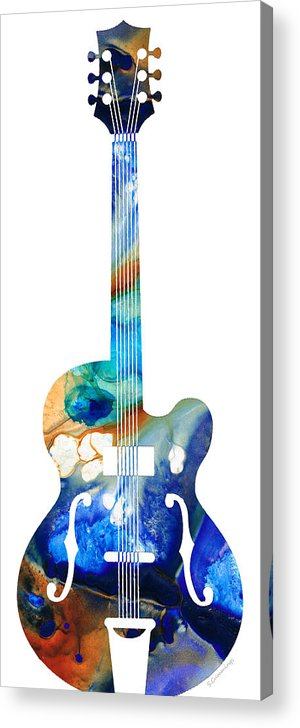 Guitar Acrylic Print featuring the painting Vintage Guitar - Colorful Abstract Musical Instrument by Sharon Cummings