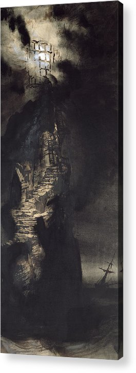 Casquets Lighthouse Acrylic Print featuring the painting Casquets Lighthouse by Victor Hugo