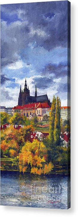 Prague Acrylic Print featuring the painting Prague Castle With The Vltava River by Yuriy Shevchuk