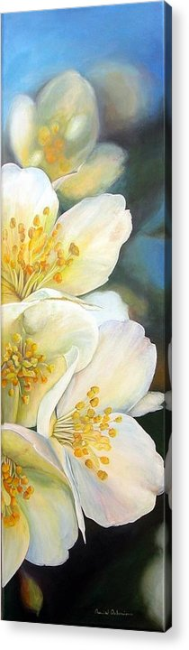 Floral Painting Acrylic Print featuring the painting Eglantine by Muriel Dolemieux