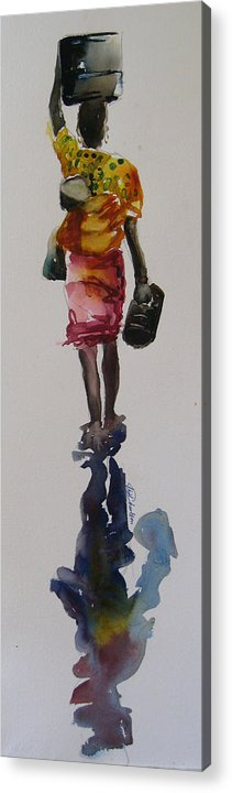 Transparent Watercolor Acrylic Print featuring the painting Fetching Water by Shirley Roma Charlton