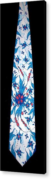 Hand Painted Ties Acrylic Print featuring the tapestry - textile Hand Pinted Tie by Jordana Sands