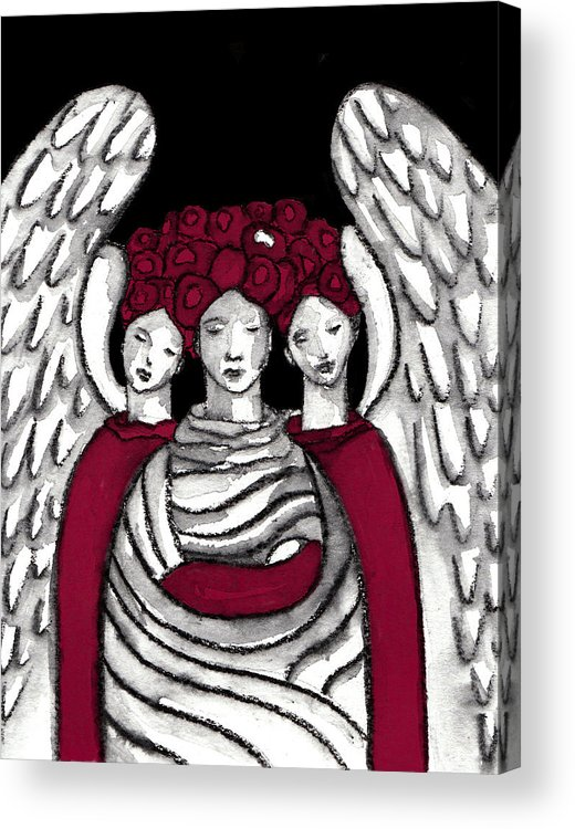 Angel Acrylic Print featuring the painting Keepers No 15 by Milliande Demetriou