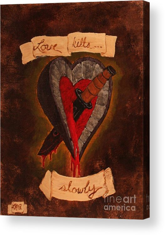 Tattoo Acrylic Print featuring the painting Because All Hearts Bleed by Lelan Gimnick
