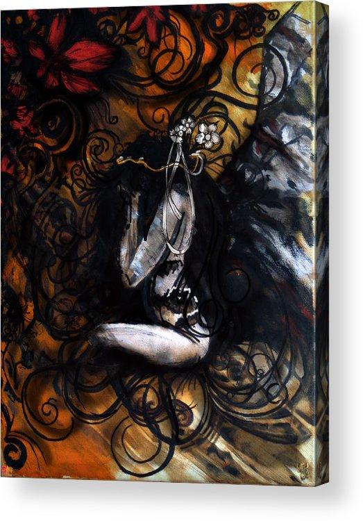 Dark Angel Acrylic Print featuring the digital art Dark Angel by Jakub DK