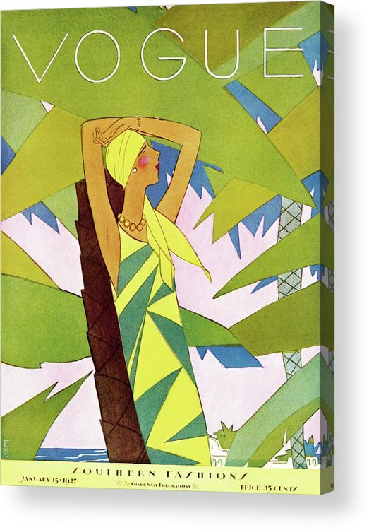 Illustration Acrylic Print featuring the photograph A Vintage Vogue Magazine Cover Of A Woman by Eduardo Garcia Benito