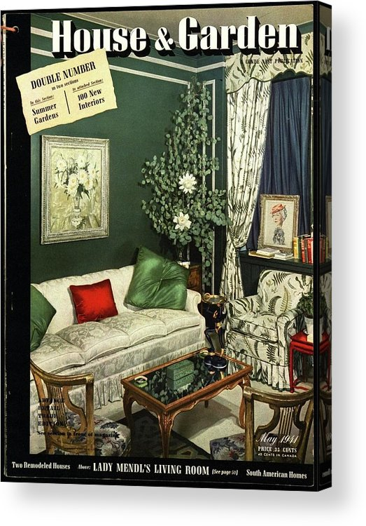 Home Accessories Acrylic Print featuring the photograph A House And Garden Cover Of Lady Mendl's Sitting by Urban Weis