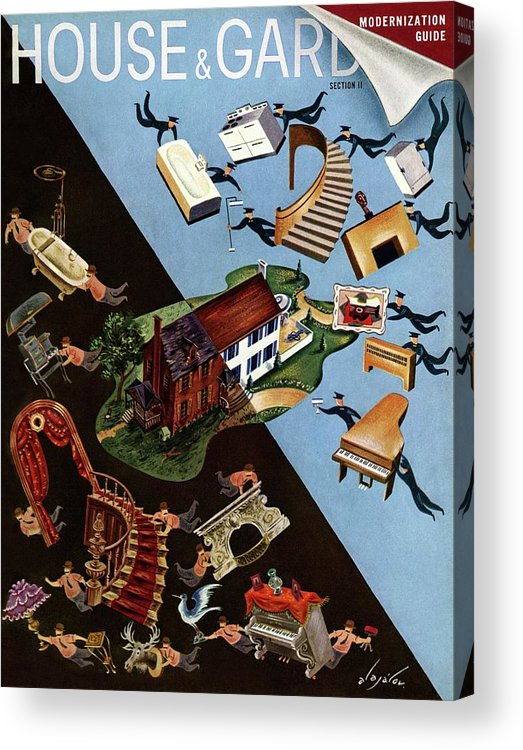 Illustration Acrylic Print featuring the photograph A House And Garden Cover Of People Moving House by Constantin Alajalov