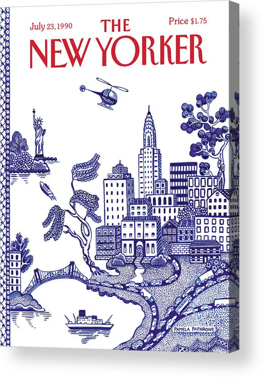 New York City Acrylic Print featuring the painting A View Of New York City by Pamela Paparone