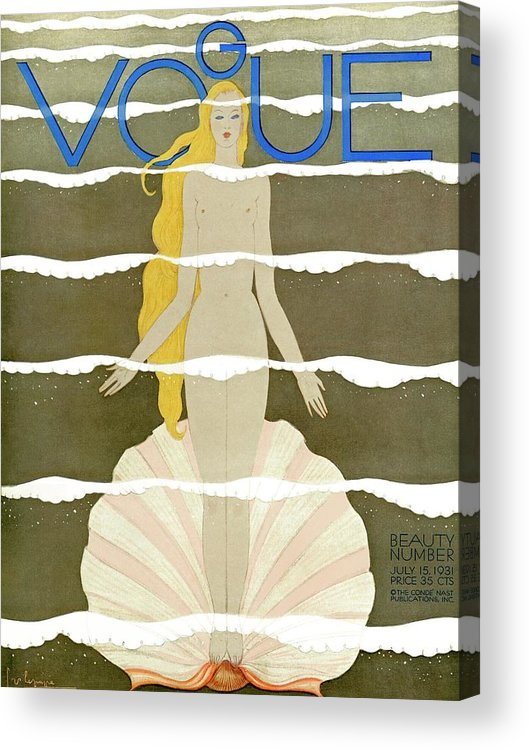 Illustration Acrylic Print featuring the photograph A Vintage Vogue Magazine Cover Of A Naked Woman by Georges Lepape