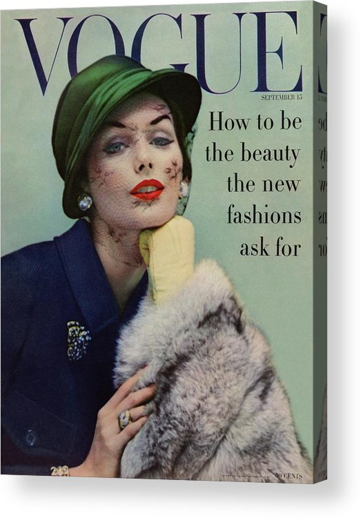Fashion Acrylic Print featuring the photograph A Vogue Cover Of Lucinda Hollingsworth With A Fur by Karen Radkai