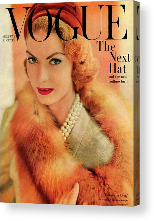 Fashion Acrylic Print featuring the photograph A Vogue Cover Of Mary Mclaughlin Wearing A Fox by Horst P. Horst