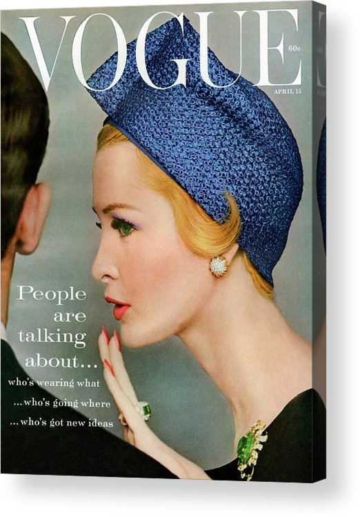 Fashion Acrylic Print featuring the photograph A Vogue Cover Of Sarah Thom Wearing A Blue Hat by Richard Rutledge