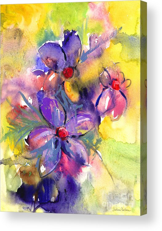 Abstract Watercolor Flowers Prints Acrylic Print featuring the painting abstract Flower botanical watercolor painting print by Svetlana Novikova