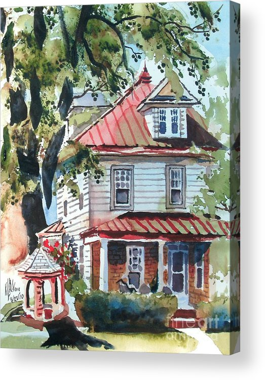 American Home With Children's Gazebo Acrylic Print featuring the painting American Home With Children's Gazebo by Kip DeVore