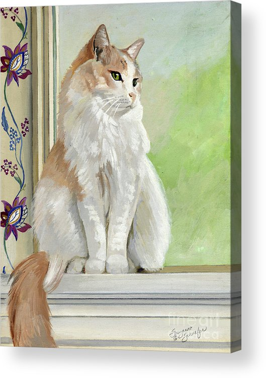 Cats Acrylic Print featuring the painting Angel Daydreams by Suzanne Schaefer