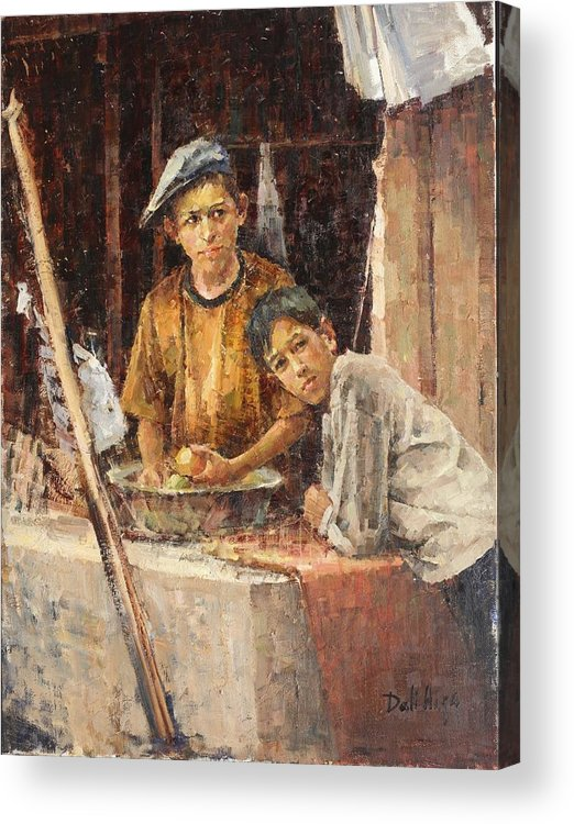 Figures Acrylic Print featuring the painting Apprentice Chefs by Dali Higa