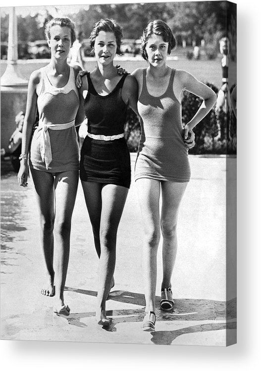 1930s Acrylic Print featuring the photograph Army Bathing Suit Trio by Underwood Archives