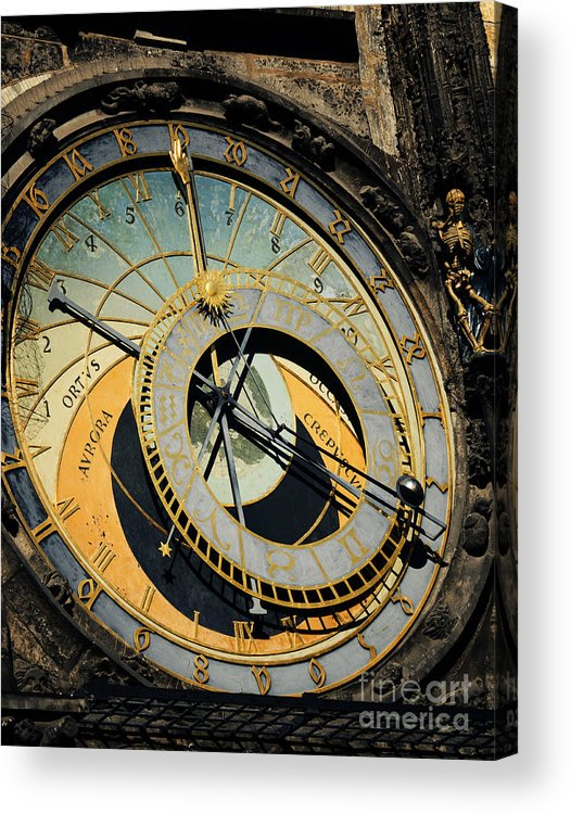 Prague Acrylic Print featuring the pyrography Astronomical Clock In Prague by Jelena Jovanovic
