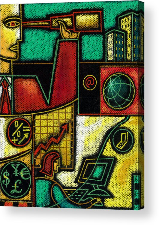 Business Budget Budgeting Building Business Business Finance Business People Businessman Businesswoman Busy Capitalism Cash Chart Collage Commerce Commitment Communicating Communication Communications Compensation Computer Connecting Corporate Corporation Creativity Currency Danger Daydreamer Dedication Describing Development Diagram Dollar Dollarbill Dollars Drawing Earth Ebusiness Ecommerce Economizing Edifice Endangering Enterprise Euro Executive Acrylic Print featuring the painting Business by Leon Zernitsky
