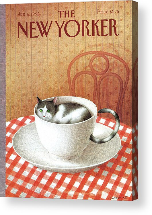 Cat Acrylic Print featuring the painting Cat Sits Inside A Coffee Cup by Gurbuz Dogan Eksioglu