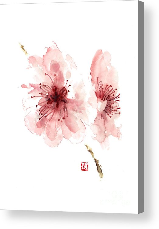 Japanese flowers art prints floral art Blooming Sakura