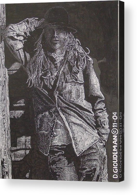 Figurative Acrylic Print featuring the drawing Cowgirl by Denis Gloudeman