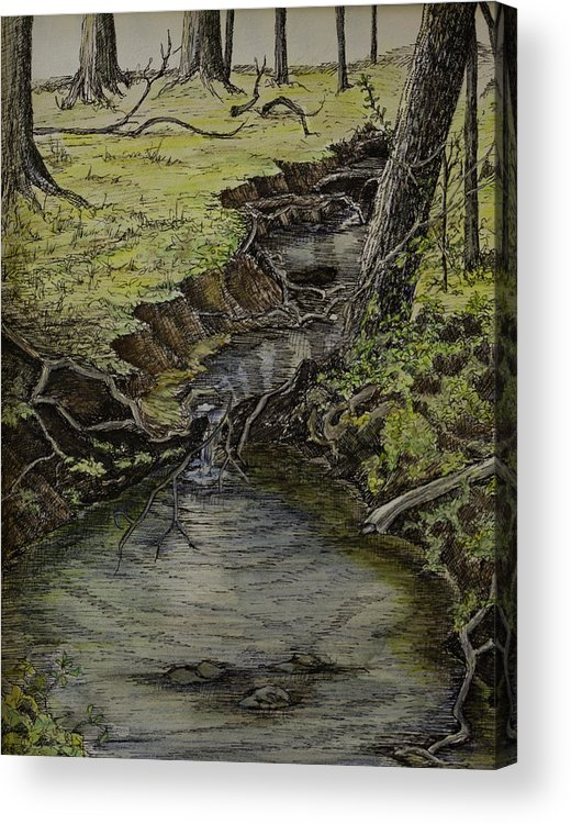 Creek Acrylic Print featuring the painting Creek by Janet Felts